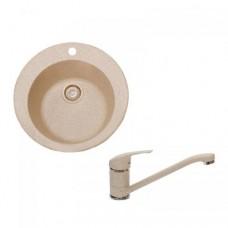 Мойка для кухни D510 SGA-800 (персик) + смеситель в подарок, Fosto (Фосто)