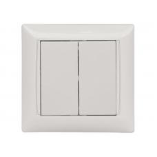 Выключатель двойной Primera белый 3003 LUXEL (Люксел)